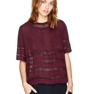 NWOT Wilfred Beaudry Blouse - Burgundy - Sz XS